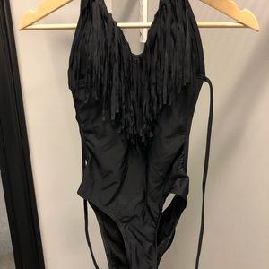 Other - Black open back fringe one piece swimsuit